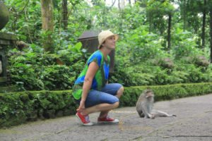 Taking a picture with monkey