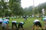 warisan group, warisan group stretching, garden team buildling