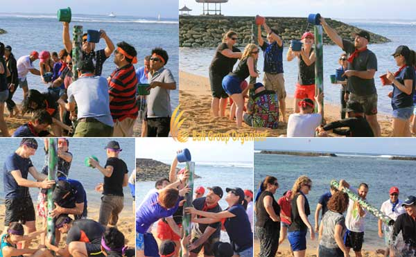 team-building and CSR program of AON Benfield group  water tower games, beach games, water games, bali beach team building, aon benfield