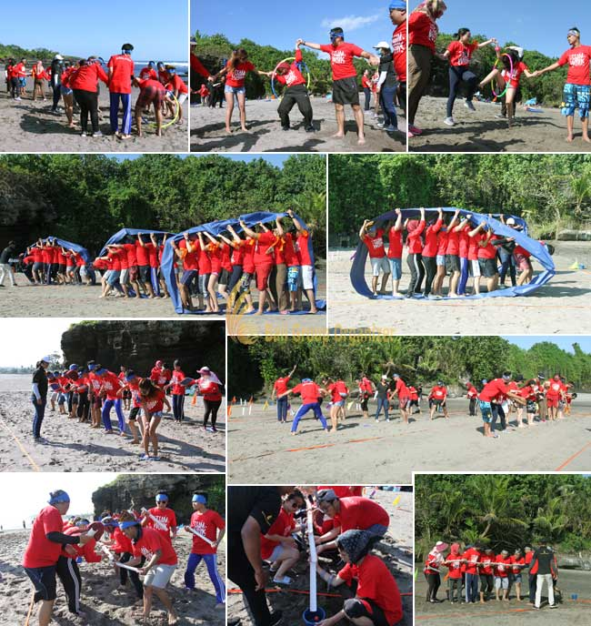 group team-building activities forest indo niaga company race games, forest indo niaga, beach team building