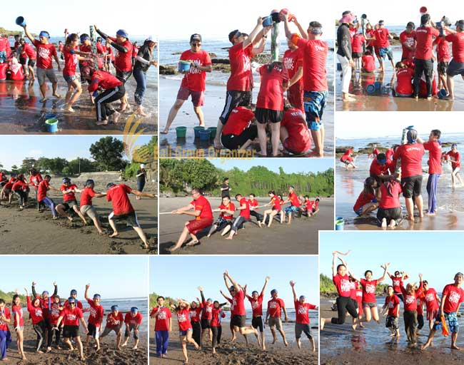 group team-building activities forest indo niaga company tug of war, tug of war game, forest indo niaga, beach team building